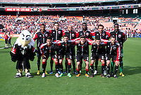 D.C. United lines up before the game at the RFK Stadium in Washington DC.  Philadelphia defeated D.C. United, 3-2.