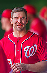 31 May 2014: Washington Nationals second baseman Danny Espinosa chats in the dugout prior to facing the Texas Rangers at Nationals Park in Washington, DC. The Nationals defeated the Rangers 10-2 to notch their second win of the 3-game interleague series. Mandatory Credit: Ed Wolfstein Photo *** RAW (NEF) Image File Available ***