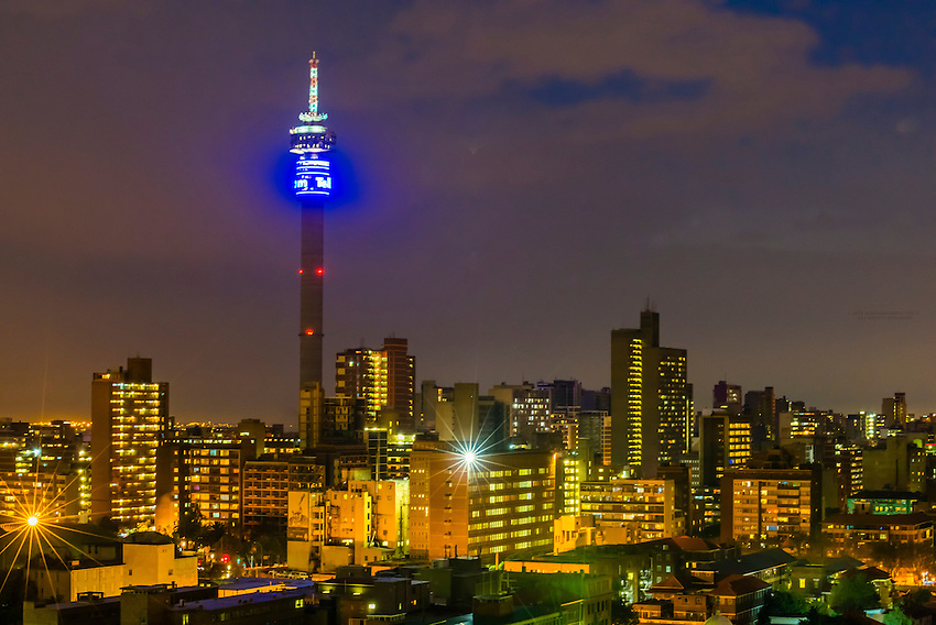 Night view, Central Business District, Johannesburg, South Africa.