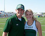 Eagle's pole vault coach Josh Kern with two time state pole vault champion, Allison Jeffries, during the 5A Idaho Track and Field Championships on May 18, 2012 at Rocky Mountain High School, Meridian, Idaho.