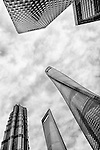 Modern architecture skyscrapers of financial district abstract view, Lujiazui, Pudong, Shanghai, China 2014 black and white