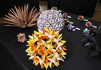Colorful modular origami designed and folded by Jorge Pardo, Spain on display at the OrigamiUSA 2013 Convention exhibition