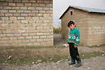 A child in the Chalabixan refugee camp near Sheki, Azerbaijan on November 2, 2005.