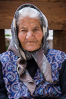 Gran Sasso National Park, Abruzzo, Italy, June 2008. An elderly woman at the village square. The medieval town of Santo Stefano di Sessanio lies on a hill overlooking the valley. Photo by Frits Meyst/Adventure4ever.com