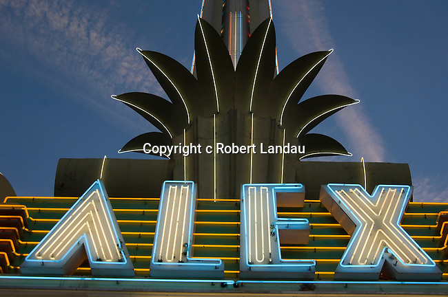 Neon sign at the art deco Alex Theater in Glendale