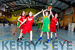 Katie Brosnan Kerry Green gets in her shot under pressure from St Marys Paris McCarthy and Aoife Kerins during the u14 Girls final at the St Marys Christmas basketball blitz in Castleisland on Friday