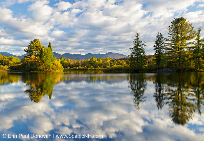 Coffin Pond in Sugar Hill, New Hampshire USA during the autumn months.