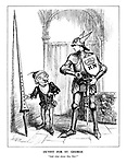 """Outfit for St. George. """"And what about this, Sire?"""" (cartoon showing Mr Punch arming St. George as conscription is introduced for the British army in 1939)"""