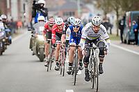 Peter Sagan (SVK/Bora-Hansgrohe) leading the impressive breakaway group comprising Matteo Trentin (ITA/QuickStep), Luke Rowe (GBR/SKY), Jasper Stuyven (BEL/Trek-Segafredo) &amp; Tiesj Benoot (BEL/Lotto-Soudal)<br /> <br /> 69th Kuurne-Brussel-Kuurne 2017 (1.HC)