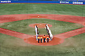 Two team group line-up,.JUNE 18, 2012 - Baseball :.Asia and Waseda players bow before the 61st All Japan University Baseball Championship Series Final game between Asia University 0-4 Waseda University at Jingu Stadium in Tokyo, Japan. (Photo by Hitoshi Mochizuki/AFLO)