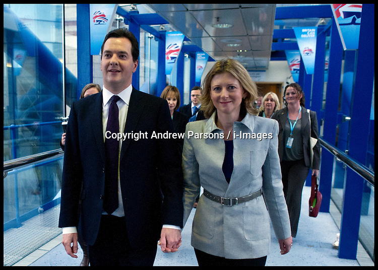 Chancellor of the Exchequer George Osborne with his wife Frances after delivering his speech at The Conservative Party Conference at ICC, Birmingham, on the second day of the Party Conference, Monday October 8, 2012. Photograph by Andrew Parsons / i-Images