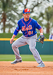 3 March 2016: New York Mets infielder Danny Muno warms up prior to a Spring Training pre-season game against the Washington Nationals at Space Coast Stadium in Viera, Florida. Mandatory Credit: Ed Wolfstein Photo *** RAW (NEF) Image File Available ***