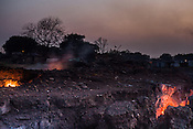 Fire rages from the ground in Lantengunj in Jharia, outside of Dhanbad in Jharkhand, India.  Photo: Sanjit Das/Panos