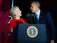 Philadelphia, PA - November 7, 2016: Democratic president candidate Hillary Clinton greets Presidential Barack Obama during a campaign rally at Independence Hall in Philadelphia, PA, November 7, 2016.  (Photo by Don Baxter/Media Images International)