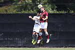31 August 2014: Elon's Myles Mansfield (17) and Loyola-Marymount's Luc Brubaker (left). The Elon University Phoenix played the Loyola Marymount University Lions at Koskinen Stadium in Durham, North Carolina in a 2014 NCAA Division I Men's Soccer match. Elon won the game 1-0.