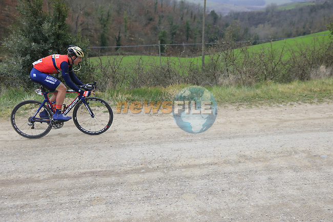 Ivan Garcia Cortina (ESP) Bahrain-Merida on gravel sector 6 Pieve a Salti during the 2017 Strade Bianche running 175km from Siena to Siena, Tuscany, Italy 4th March 2017.<br /> Picture: Eoin Clarke | Newsfile<br /> <br /> <br /> All photos usage must carry mandatory copyright credit (&copy; Newsfile | Eoin Clarke)