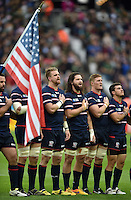 USA players sing their national anthem. Rugby World Cup Pool B match between South Africa and the USA on October 7, 2015 at The Stadium, Queen Elizabeth Olympic Park in London, England. Photo by: Patrick Khachfe / Onside Images