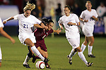 4 November 2005: Virginia's Kelly Hammond (21) holds off a challenge from Florida State's Sel Kuralay (6). The University of Virginia defeated Florida State University 2-0 at SAS Stadium in Cary, North Carolina in the semifinals of the 2005 ACC Women's Soccer Championship.