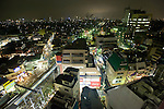 Photo shows an aerial view of the area surrounding the station at Shimokitazawa, Setagaya Ward, Tokyo, Japan..Photographer: Robert Gilhooly