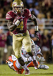 Florida State running back Dalvin Cook gained 137 yards in the first half of an NCAA college football game against Miami in Tallahassee, Fla., Saturday, Oct. 10, 2015.   The Florida State Seminoles defeated the Miami Hurricanes 29-24.