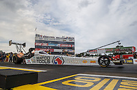 Aug 19, 2016; Brainerd, MN, USA; NHRA top fuel driver Antron Brown during qualifying for the Lucas Oil Nationals at Brainerd International Raceway. Mandatory Credit: Mark J. Rebilas-USA TODAY Sports