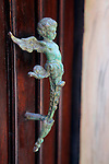 USA, Puerto Rico, San Juan. Angel Door Handle.