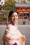 A young lady renting a kimono, enjoying walking around Gion, Kyoto.