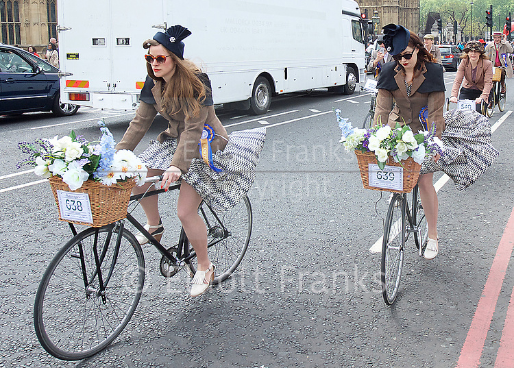 The Tweed Run from Westminster Bridge, London, Great Britain<br /> 6th May 2017 <br /> A metropolitan bicycle ride with a bit of style through the city's iconic landmarks.<br /> <br /> Tweed Run <br /> <br /> <br /> <br /> <br /> Photograph by Elliott Franks <br /> Image licensed to Elliott Franks Photography Services