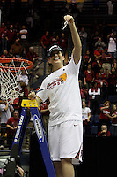 BERKELEY, CA - MARCH 30: Michelle Harrison cuts down the net following Stanford's 74-53 win against the Iowa State Cyclones on March 30, 2009 at Haas Pavilion in Berkeley, California.