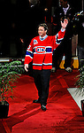 22 November 2008: Former Montreal Canadien goaltender Patrick Roy acknowledges cheers from the sell-out crowd, as the franchise honors his career by retiring his jersey number 33 during a pre-game ceremony at the Bell Centre in Montreal, Quebec, Canada.  ****Editorial Use Only****..Mandatory Photo Credit: Ed Wolfstein Photo *** Editorial Sales through Icon Sports Media *** www.iconsportsmedia.com
