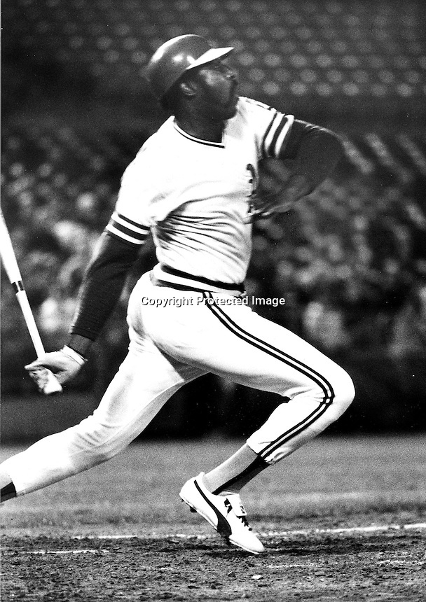 Willie McCovey with the A's in 1976. (photo by Ron .Riesterer)