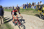 The peloton including Jean-Pierre Drucker (LUX) BMC Racing Team on pave sector 25 Briastre a Solesmes during the 115th edition of the Paris-Roubaix 2017 race running 257km Compiegne to Roubaix, France. 9th April 2017.<br /> Picture: Eoin Clarke | Cyclefile<br /> <br /> <br /> All photos usage must carry mandatory copyright credit (&copy; Cyclefile | Eoin Clarke)