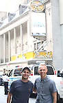 Pasek and Paul with their Broadway Marquee