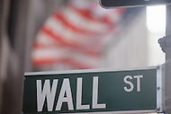 Street Signs around Wall Street during Black Monday, when stock markets around the world crashed.