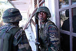 Malaysian soldiers patrol the Comora area of Dili, in an effort to prevent the continual Gang violence that plagues the area. East Timor 04/06/06