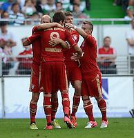 Fussball 1. Bundesliga :  Saison   2012/2013   1. Spieltag  25.08.2012 SpVgg Greuther Fuerth - FC Bayern Muenchen Arjen Robben, Mario Mandzukic, Thomas Mueller, Xherdan Shaqiri (v.li., FC Bayern Muenchen)