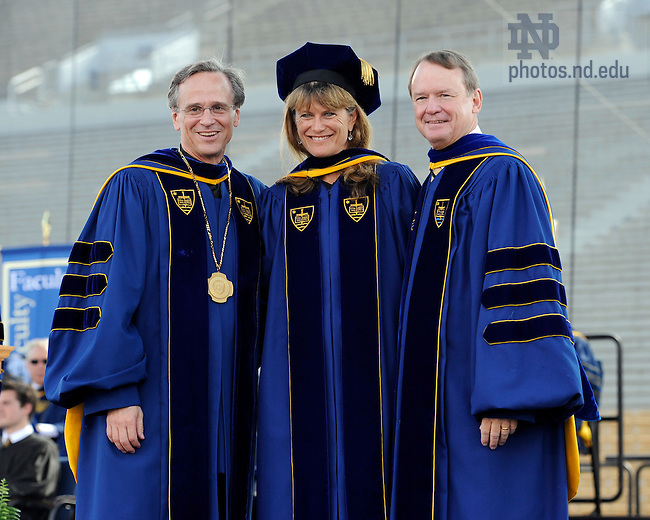 May 22, 2011; Jacqueline Novogratz receives an honorary doctor of laws degree at the 2011 Commencement ceremony...Photo by Joe Raymond/University of Notre Dame