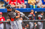 9 March 2013: Miami Marlins outfielder Kyle Jensen in action during a Spring Training game against the Washington Nationals at Space Coast Stadium in Viera, Florida. The Nationals edged out the Marlins 8-7 in Grapefruit League play. Mandatory Credit: Ed Wolfstein Photo *** RAW (NEF) Image File Available ***