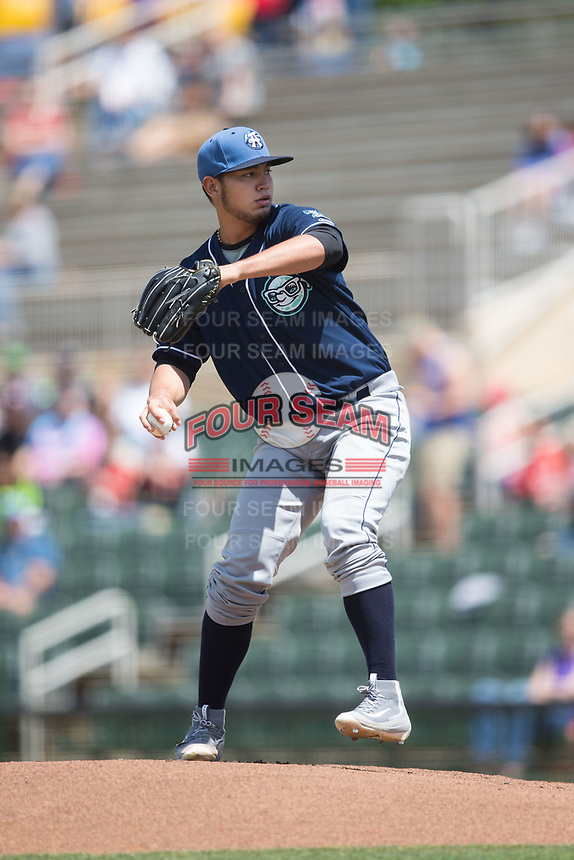 Asheville Tourists starting pitcher Alejandro Requena (15) in action against the Kannapolis Intimidators at Kannapolis Intimidators Stadium on May 7, 2017 in Kannapolis, North Carolina.  The Tourists defeated the Intimidators 4-1.  (Brian Westerholt/Four Seam Images)