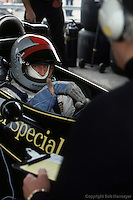 ANDERSTORP, SWEDEN - JUNE 13: Mario Andretti, sitting in his Lotus 77 R1/Ford Cosworth DFV, gestures with his hand as he speaks with Colin Chapman during practice for the Swedish Grand Prix on June 13, 1976, at Scandinavian Raceway near Anderstorp, Sweden.