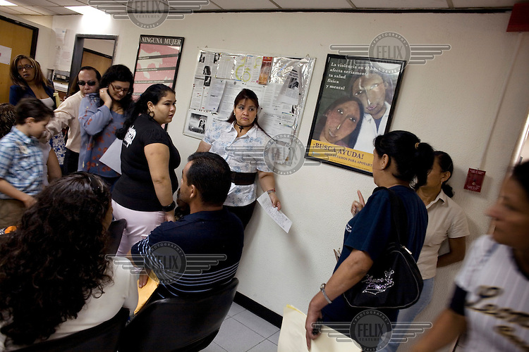 The waiting room of the People's Defender office in INAMUJER (National Women's Institute) where female victims of domestic violence are attended to.