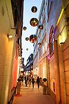 Shoppers along St Christopher's Place at dusk, London, England, UK, Europe
