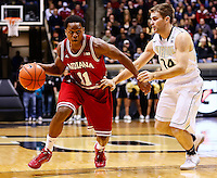 WEST LAFAYETTE, IN - JANUARY 30: Kevin Ferrell #11 of the Indiana Hoosiers dribbles the ball against Dru Anthrop #14 of the Purdue Boilermakersat Mackey Arena on January 30, 2013 in West Lafayette, Indiana. Indiana defeated Purdue 97-60. (Photo by Michael Hickey/Getty Images) *** Local Caption *** Kevin Ferrell; Dru Anthrop