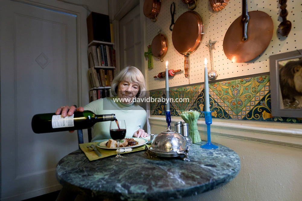 Book editor and author Judith Jones sits down for a meal in her apartment in New York City, USA, 2 October 2009.