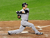 New York Yankees right fielder Nick Swisher (33) bats in the sixth inning against the Baltimore Orioles at Oriole Park at Camden Yards in Baltimore, Maryland on Monday, August 29, 2011.  The Yankees won the game 3 - 2..Credit: Ron Sachs / CNP.(RESTRICTION: NO New York or New Jersey Newspapers or newspapers within a 75 mile radius of New York City)