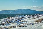 Cadillac Mountain from Schoodic Point on the Schoodic Peninsula in Acadia National Park, Maine, USA