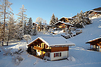Swiss chalets in the winter snow near Grindelwald - Swiss Alps - Switzerland
