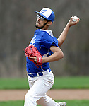 Beacon Falls, CT- 24 April 2017-042417CM02- Crosby's Ricky Centeno-Robles delivers a pitch during their baseball matchup against Woodland on Monday.    Christopher Massa Republican-American