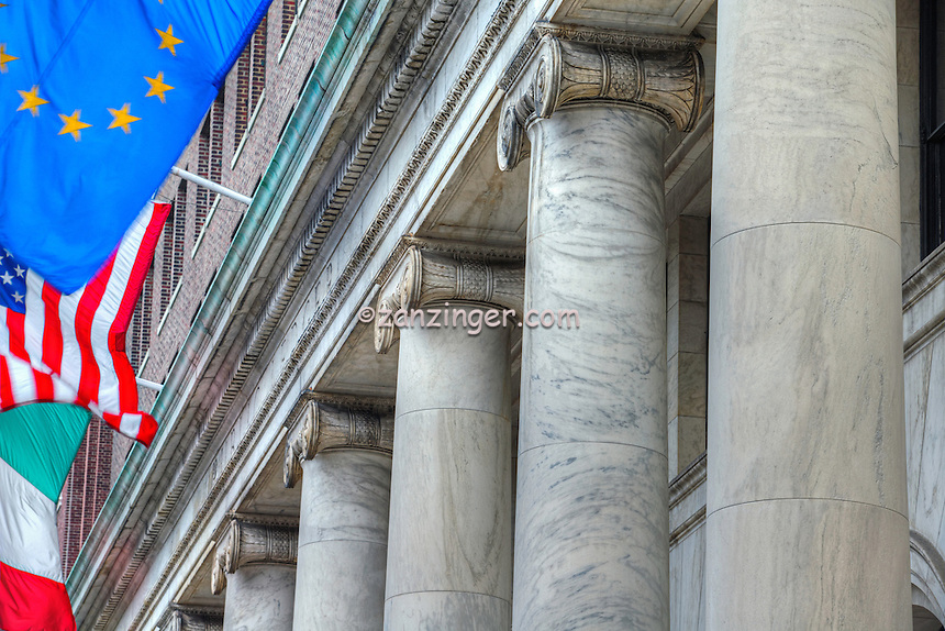 Pillars and Flags, Historic District, Philadelphia PA; Bank Building, Flags