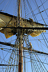 Working on the sails on the Bounty tall ship, docked in Santa Cruz harbour. Tenerife,Canary Islands.